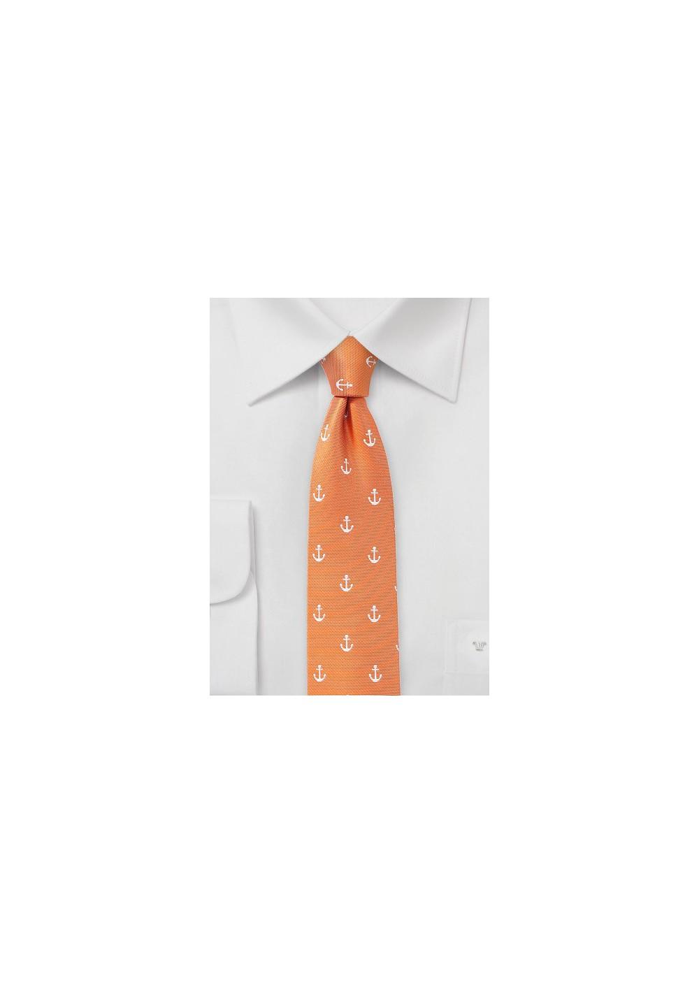 Tangerine Anchor Print Tie
