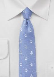 Light Blue Anchor Print Tie