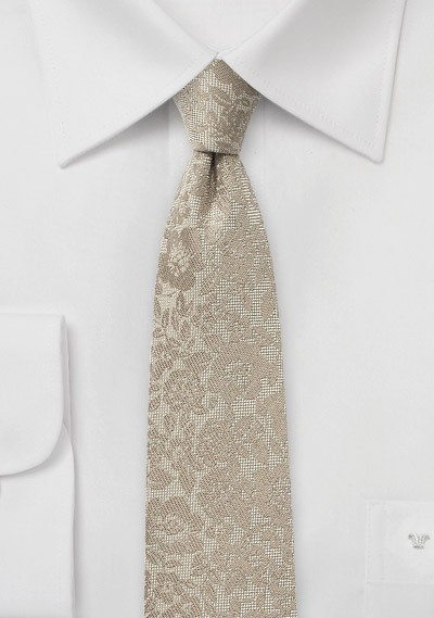 Champagne Skinny Floral Tie