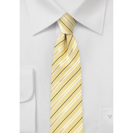 Striped Cotton Tie in Lemon