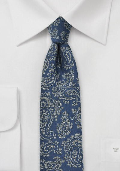 Blue Slim Cut Tie with Gray Paisley