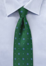 Hunter Green Floral Silk Tie