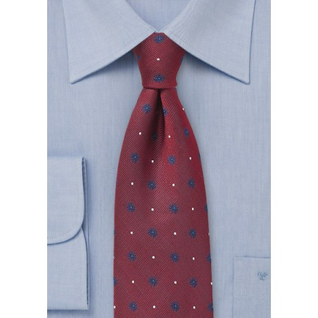 Cherry Red Silk Tie with Navy Florals