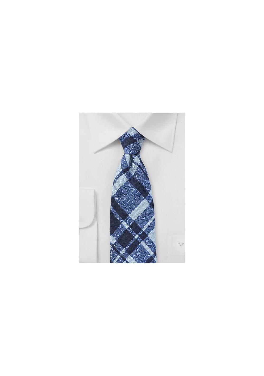 Wool Plaid Tie in Blue