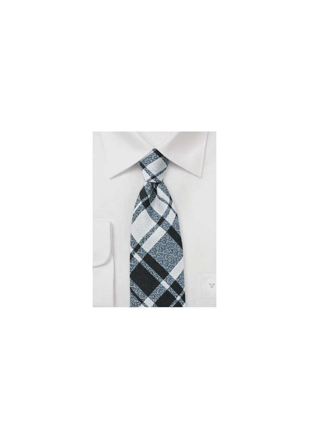 Wool Plaid Tie in Silver, Black, and Gray