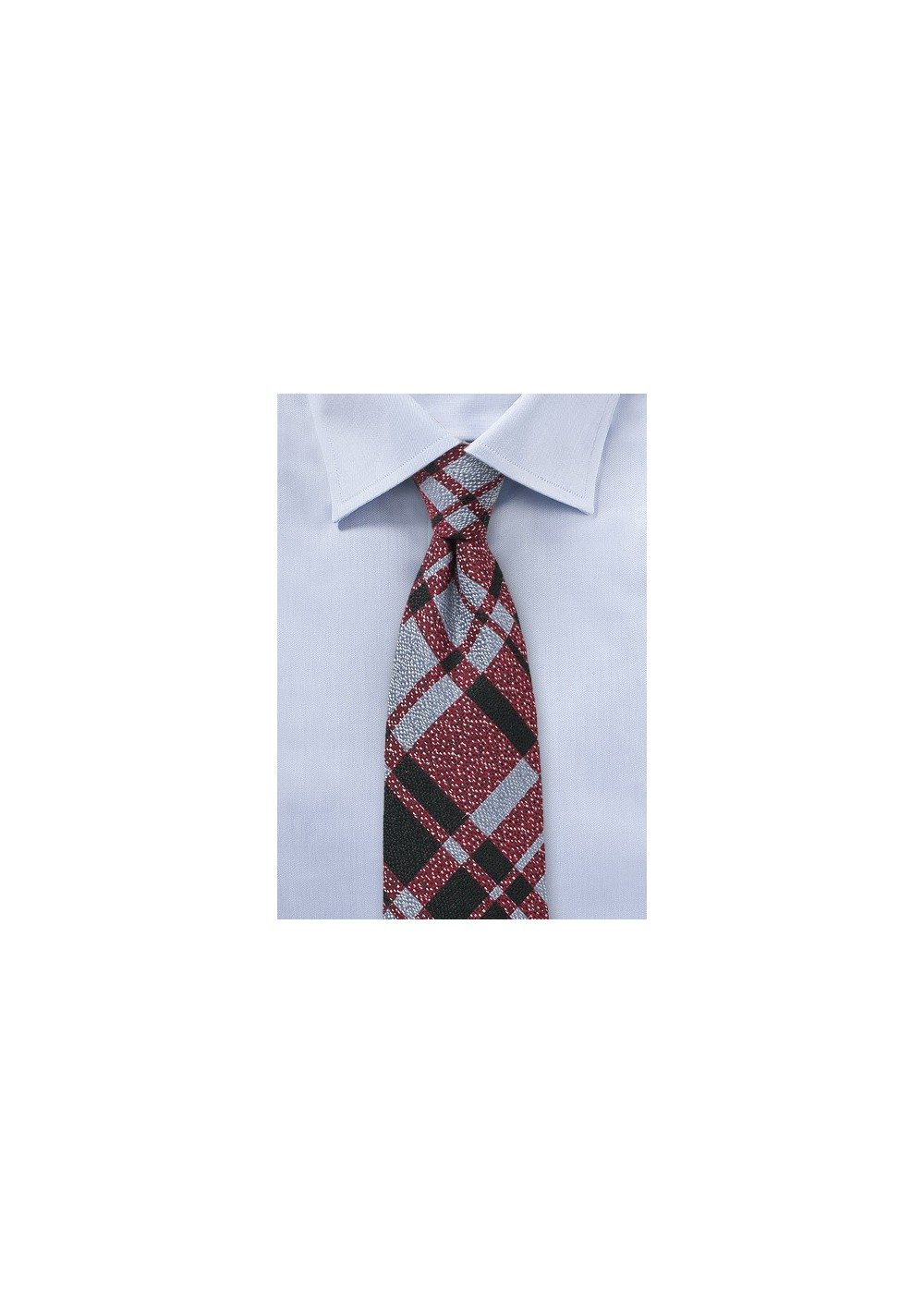 Redmond Light Blue Wool Plaid Tie