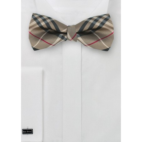 Tartan Plaid Bow Tie in Golden Tan