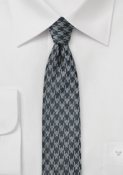 Charcoal and Gray Houndstooth Tie
