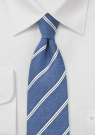 Silk and Linen Tie in Indigo Blue
