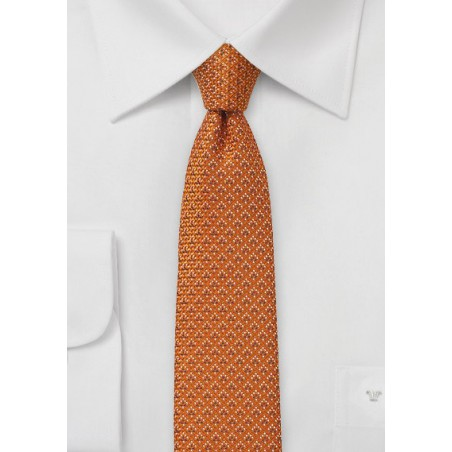 Skinny Wool Tie in Burnt Orange