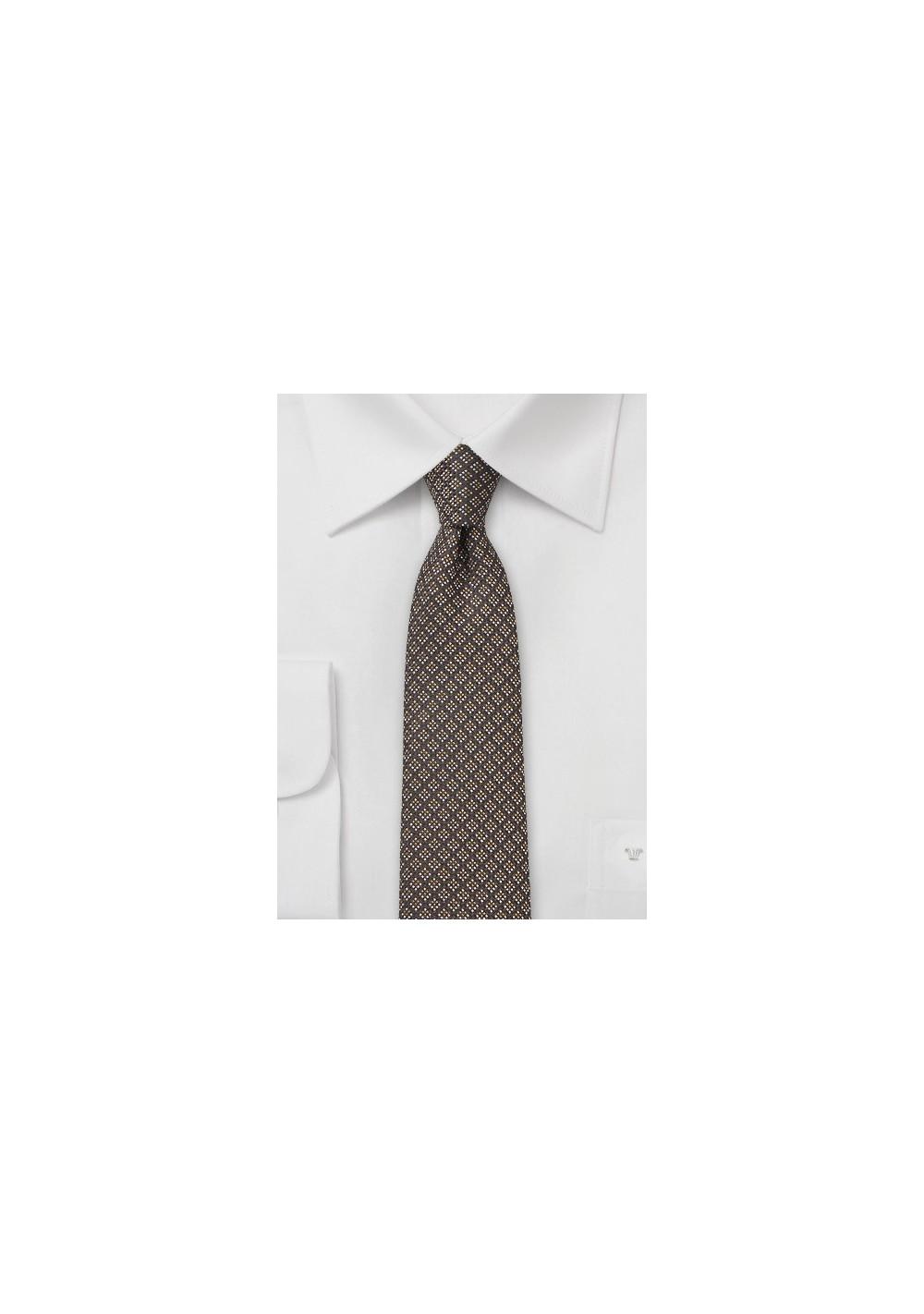 Mocha Brown Silk and Wool Tie