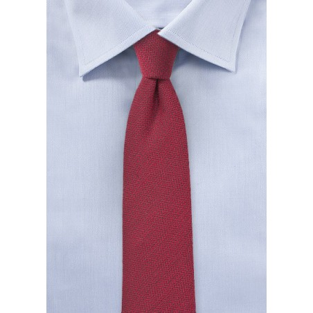 Claret Red Skinny Wool Tie