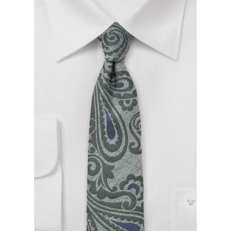 Oriental Paisley Skinny Wool Tie in Gray