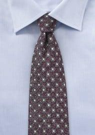 Geometric Wool Weave Tie in Burgundy