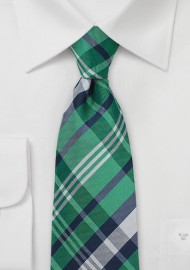 Green and Blue Plaid Kids Tie