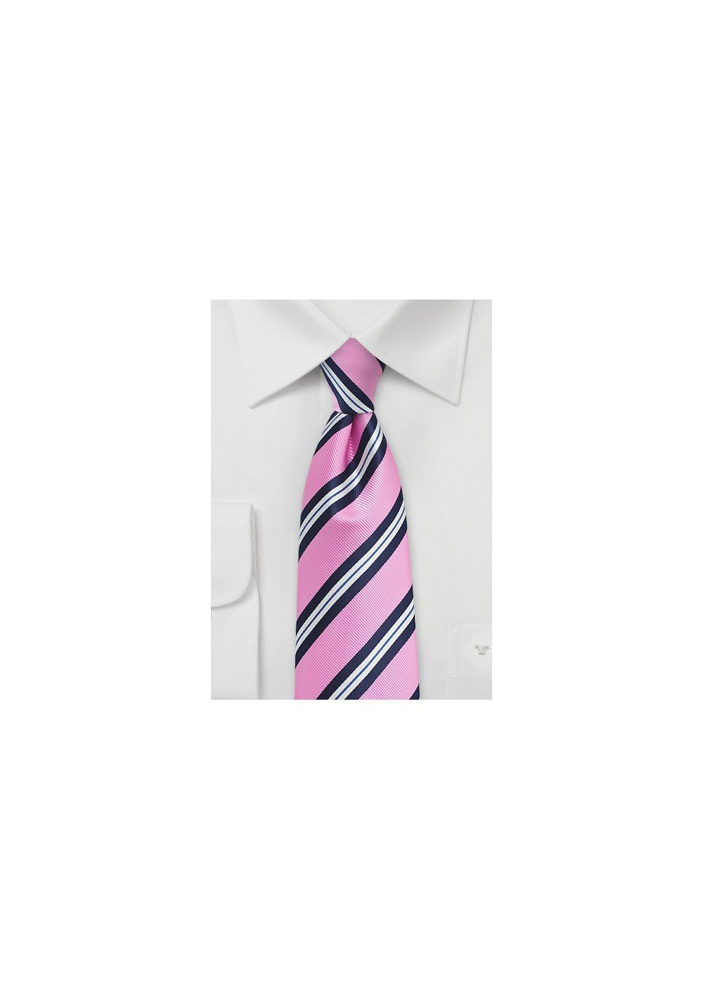 Pink and Blue Repp Stripe Tie in XL
