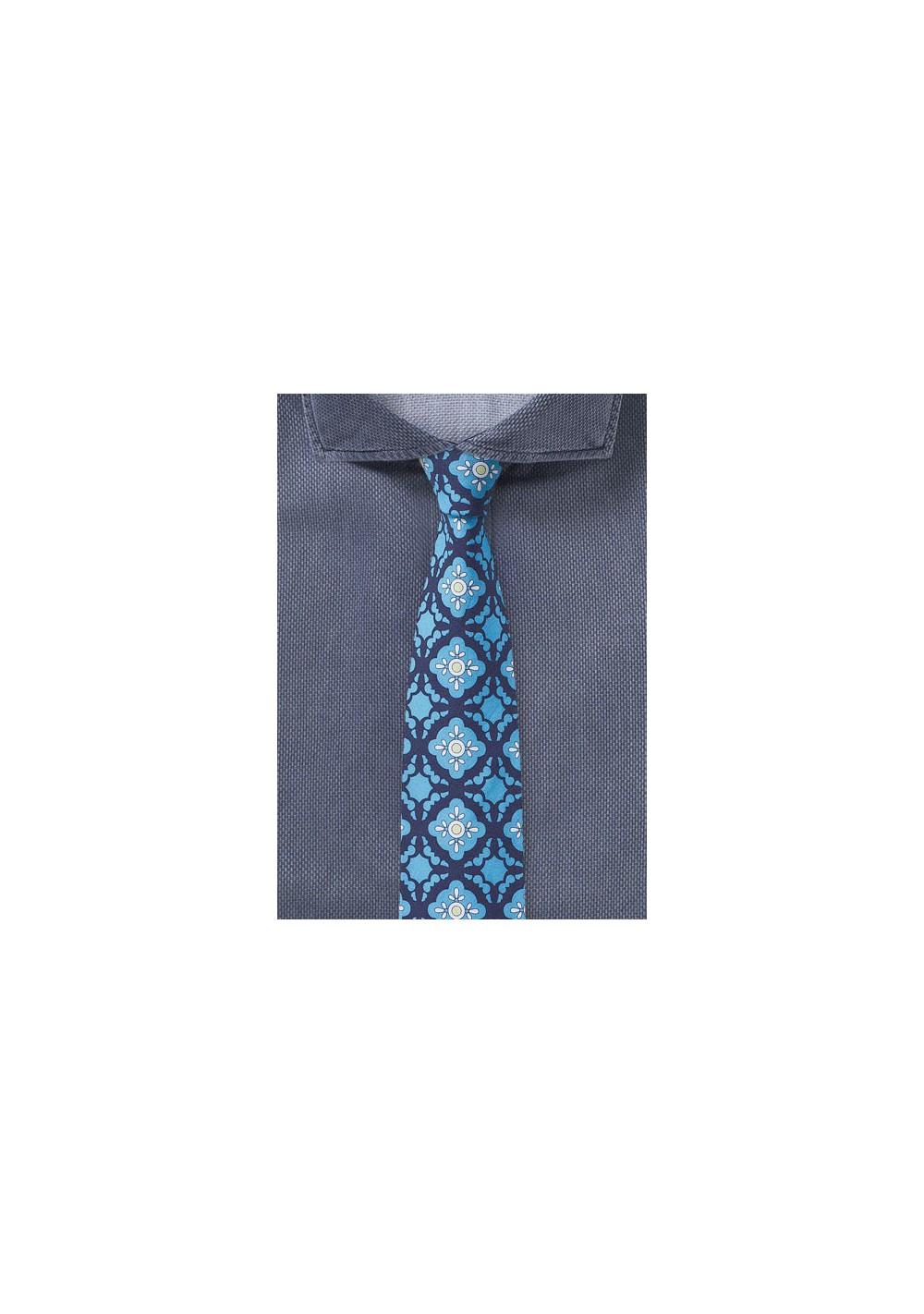 Tile Design Skinny Tie in Blue and Aqua