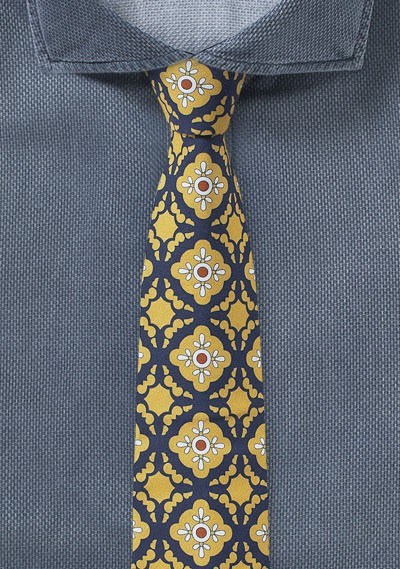 Cotton Print Tile Design in Golden Yellow and Navy