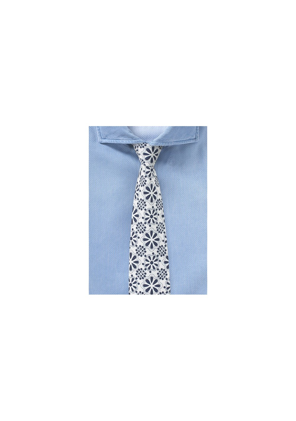 Floral Lace Print Cotton Tie in White and Blue