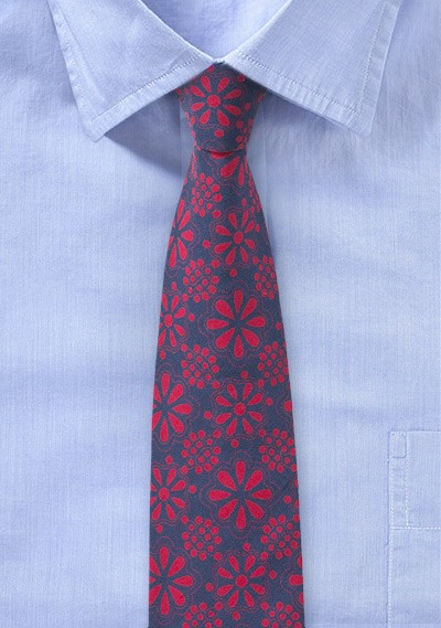 Floral Print Cotton Tie in Navy and Red