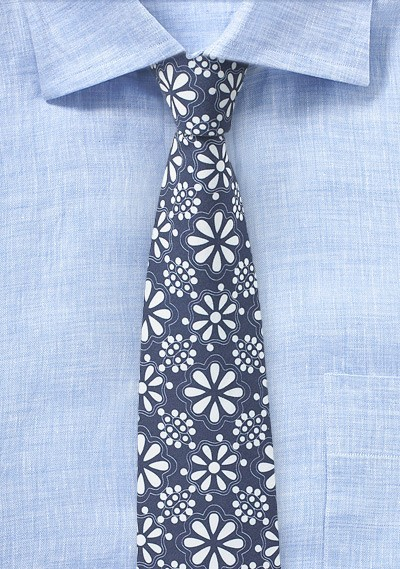 Blue and White Geometric Floral Cotton Tie