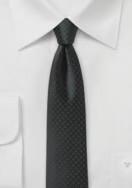 Black Skinny Tie with Small Checks