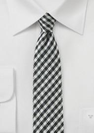Trendy Gingham Check Skinny Tie
