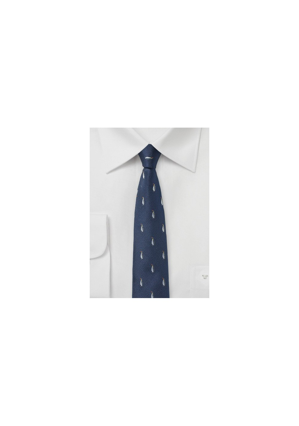 Navy Tie with Penguin Pattern