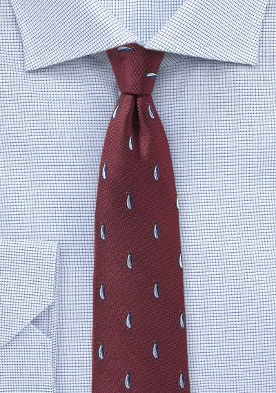 Maroon Red Tie with Woven Penguins