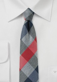 Red, Grey, and Navy Plaid Tie