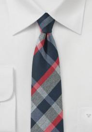Modern Tartan Skinny Tie in Gray, Blue and Red