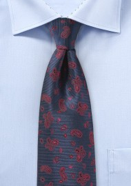 Navy Repp Tie with Red Woven Paisleys