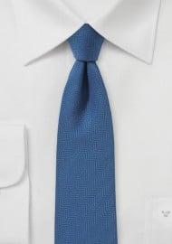 Steel Blue Skinny Tie with Herringbone
