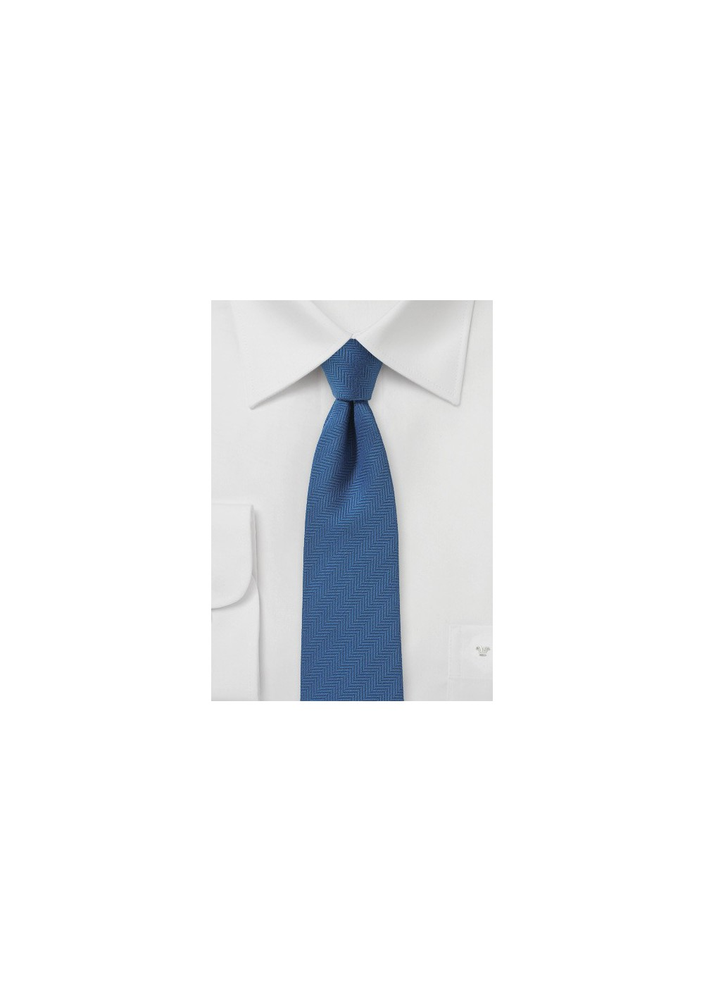 Steel Blue Skinny Tie with Herringbone