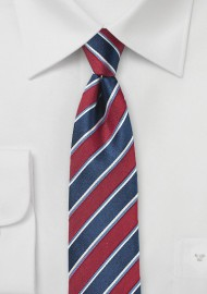 Awning Stripe Tie in Cherry and Navy
