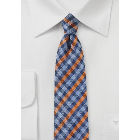 Blue and Orange Micro-check Tie
