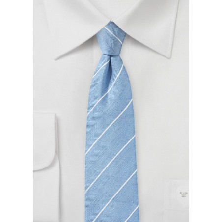 Powder Blue Striped Linen Tie