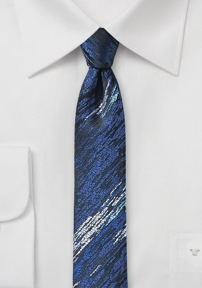 Super Skinny Blue Tie with Wood Grain Texture