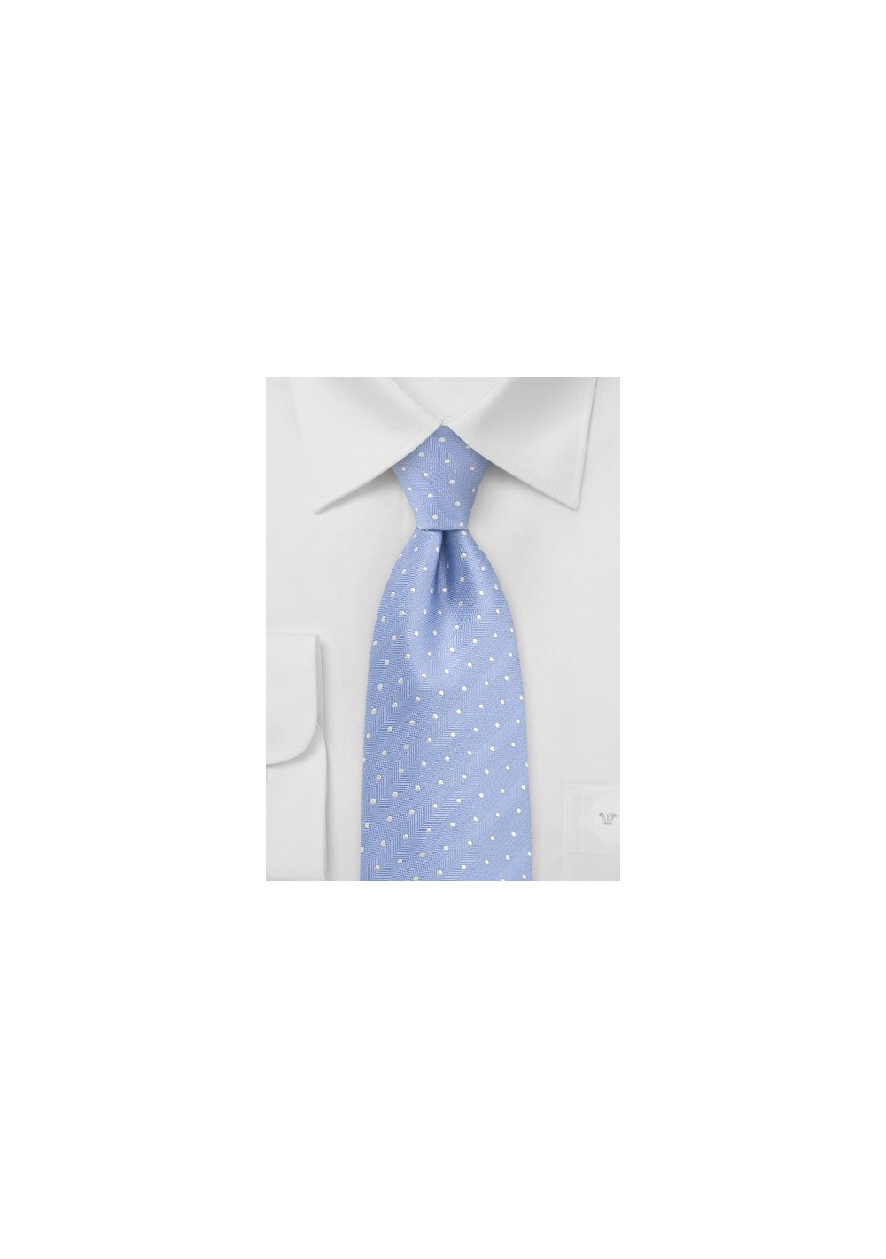 Soft Blue Polka Dot Tie in XL