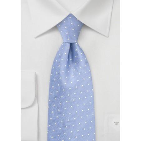 Soft Blue Kids Sized Silk Tie with Polka Dots