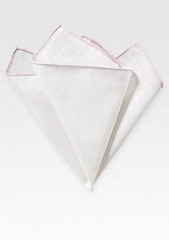 White Linen Hanky with Blush Color Border