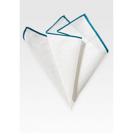 White Linen Hanky with Teal Border
