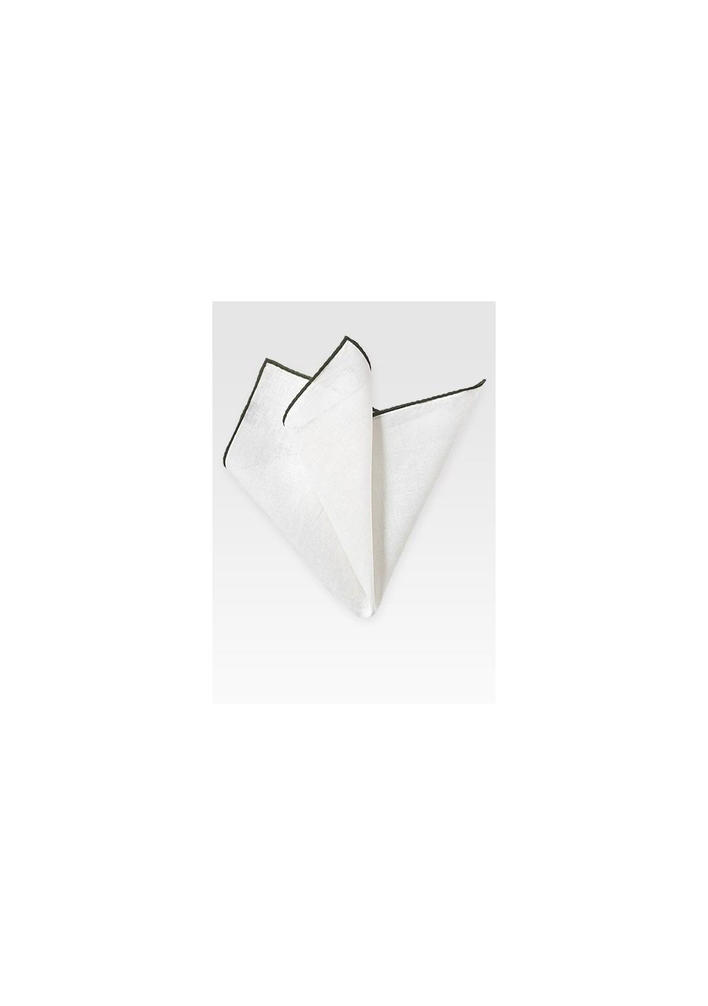 White and Dark Green Linen Pocket Square