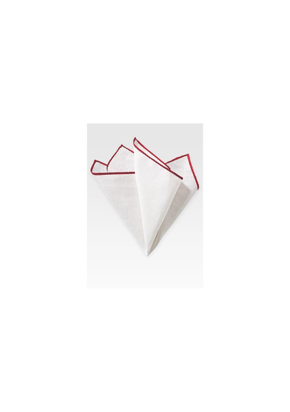 White and Red Linen Pocket Square