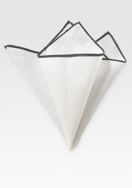 White and Pewter Gray Linen Pocket Square
