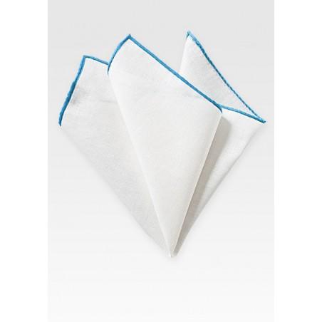 White and Aqua Linen Pocket Square