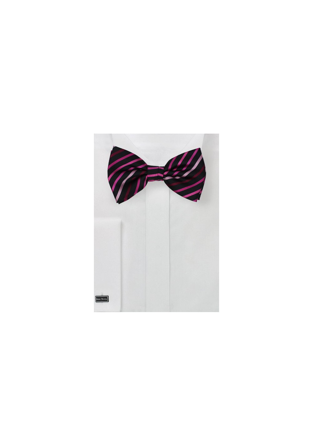 Black Bow Tie with Pink Stripes