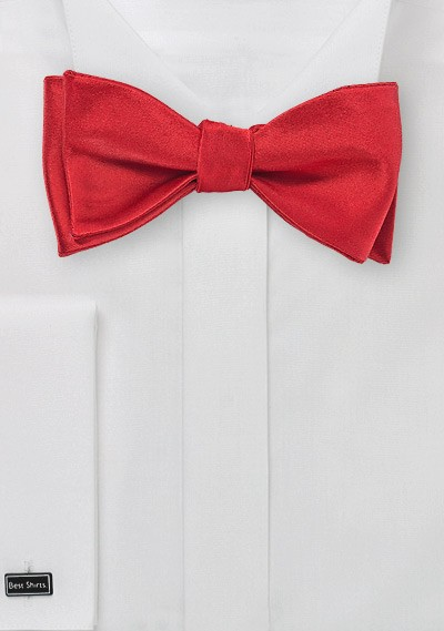 Solid Red Self Tied Bow Tie