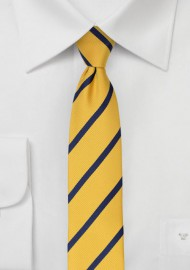 Skinny Repp Stripe Tie in Navy and Yellow
