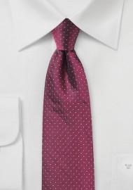 Pin Dot Silk Tie in Dark Cherry Red